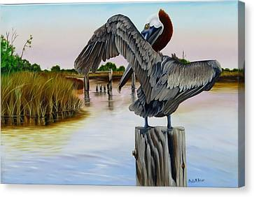 Canvas Print featuring the painting Gar Lake Pelican 2 by Phyllis Beiser