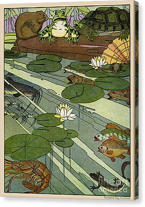 Garada Clark Riley Living Pond With Frog Turtle Lily Pads Fish Crawfish Mouse Snail Lizard Etc Canvas Print by Pierpont Bay Archives