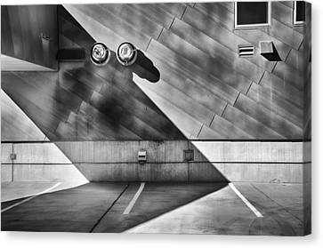Rooftop Canvas Print - Garage Rooftop Bw by Angelina Vick