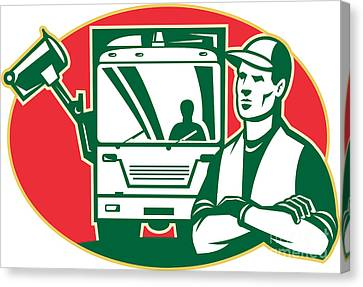 Workers Canvas Print - Garbage Collector And Side Loader Rubbish Truck by Aloysius Patrimonio