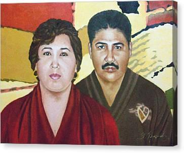 Garcia Family Portrait  Retrato De La Pareja Garca Canvas Print by Fernando A Hernandez