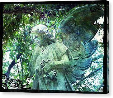 Canvas Print featuring the digital art Garden Angel - Divine Messenger by Absinthe Art By Michelle LeAnn Scott