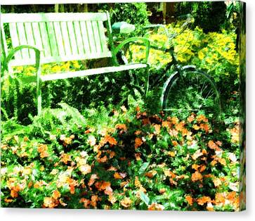 Garden Bench Canvas Print by Florene Welebny