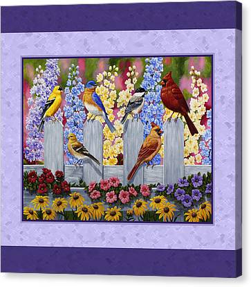 Garden Birds Duvet Cover Purple Canvas Print