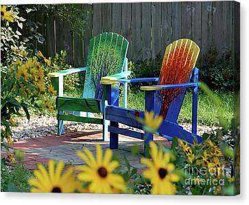 Garden Chairs Canvas Print by First Star Art