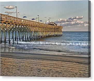 Garden City Pier At Sunset Canvas Print by Sandra Anderson