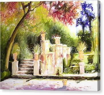 Sunlight On Pots Canvas Print - Garden Entrance by Melissa Herrin