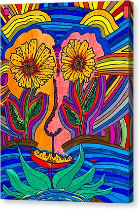 Garden Face - Lotus Pond - Daisy Eyes Canvas Print