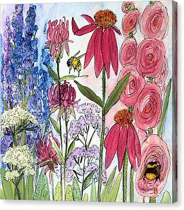Garden Flower And Bees Canvas Print