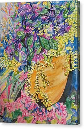 Garden Flowers In A Pot Canvas Print
