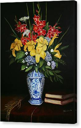 Canvas Print featuring the painting Garden Flowers  by Sandra Nardone