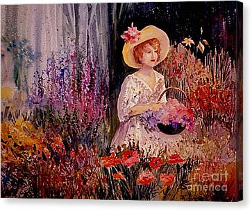 Garden Scene Canvas Print - Garden Girl by Marilyn Smith