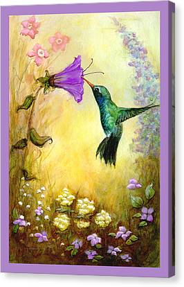 Canvas Print featuring the mixed media Garden Guest In Lavender by Terry Webb Harshman