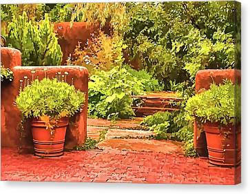 Canvas Print featuring the painting Garden by Muhie Kanawati
