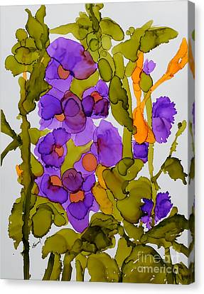 Garden Of Hollyhocks Canvas Print by Vicki  Housel