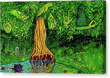 Canvas Print featuring the painting Garden Of Intent Eden For Pandemonium by D Renee Wilson
