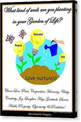 Garden Of Life Canvas Print by Bobbee Rickard