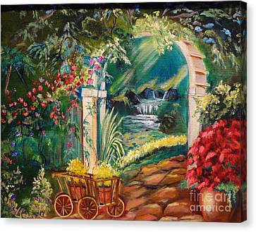Canvas Print featuring the painting Garden Of Serenity Beyond by Jenny Lee