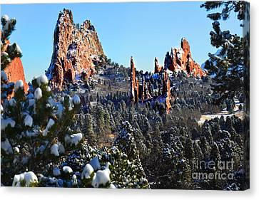 Canvas Print featuring the photograph Garden Of The Gods After Snow Colorado Landscape by Jon Holiday