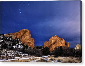 Garden Of The Gods Star Storm Canvas Print by Darren  White