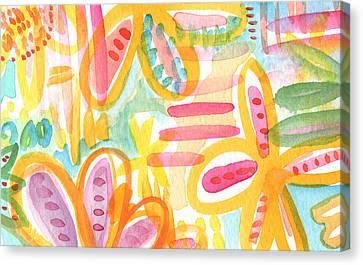 Garden Party- Abstract Flower Painting Canvas Print