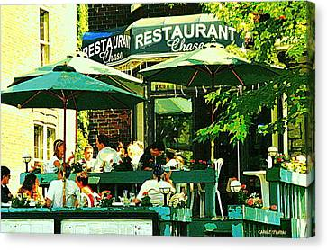 Garden Party Celebrations Under The Cool Green Umbrellas Of Restaurant Chase Cafe Art Scene Canvas Print by Carole Spandau