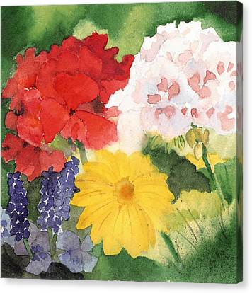 Canvas Print featuring the painting Garden Phlox by Susan Crossman Buscho
