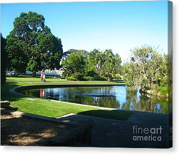Canvas Print featuring the photograph Sydney Botanical Garden Lake by Leanne Seymour