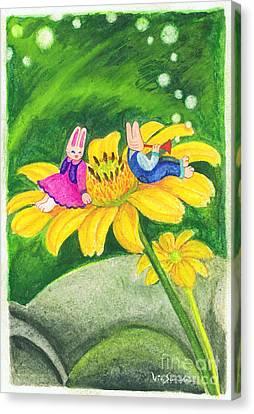 Garden Rabbit17 Heliopsis Canvas Print by Vin Kitayama