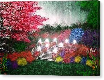 Canvas Print featuring the painting Garden Terrace by Michael Rucker