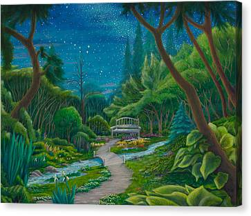 Canvas Print featuring the painting Garden Under Ursa Major by Matt Konar