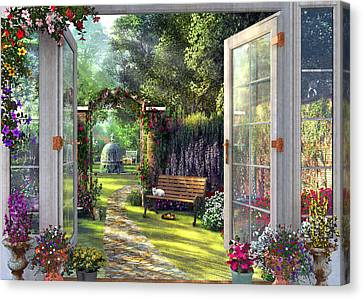 Canvas Print featuring the drawing Garden View by Dominic Davison