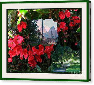 Canvas Print featuring the photograph Garden Whispers In A Green Frame by Leanne Seymour