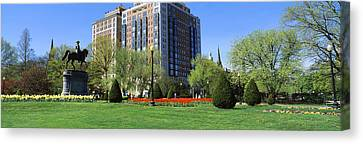 Garden With A Building Canvas Print by Panoramic Images