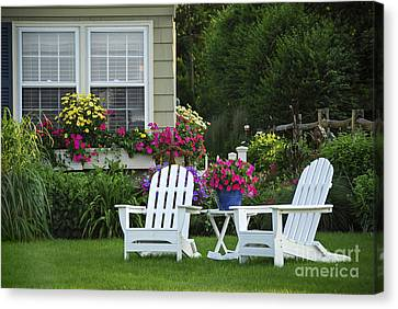 Garden With Lawn Chairs Canvas Print