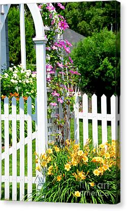 Garden With Picket Fence Canvas Print by Elena Elisseeva
