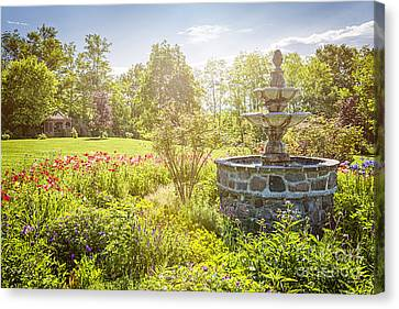 Garden With Stone Fountain Canvas Print by Elena Elisseeva