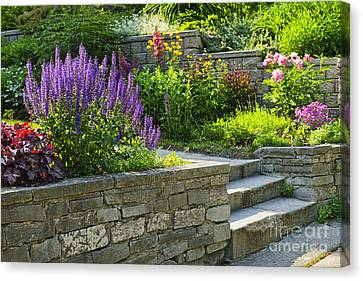 Garden With Stone Landscaping Canvas Print by Elena Elisseeva