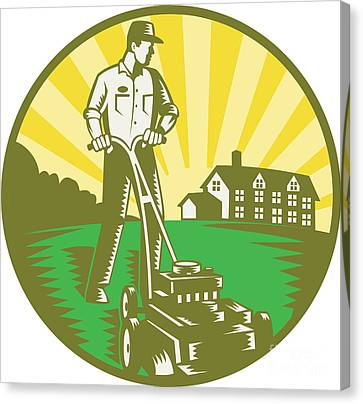 Gardener Mowing Lawn Mower Retro Canvas Print by Aloysius Patrimonio