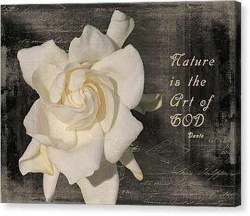 Gardenia And Quote Canvas Print by Rosalie Scanlon