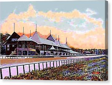 Gardens And Grandstand At Saratoga Racetrack In 1908 Canvas Print