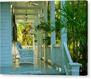 Gardens Porch In Key West Canvas Print by David  Van Hulst