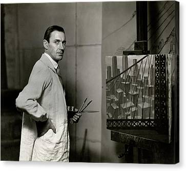 Artist At Easel Canvas Print - Gardner Hale In Front Of A Painting by Paul Hansen