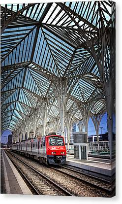 Designer Colour Canvas Print - Gare Do Oriente Lisbon by Carol Japp
