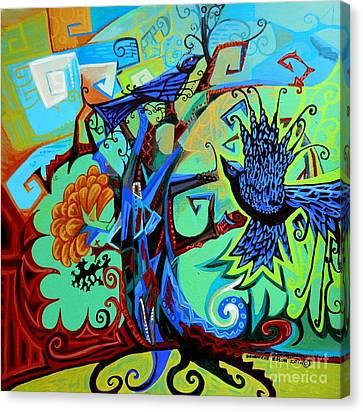 Gargoyle Crows Canvas Print by Genevieve Esson