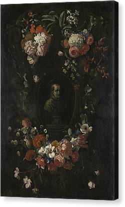 Garland Of Flowers Surrounding Portrait Of Hieronymus Van Canvas Print by Litz Collection