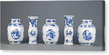 Garniture Of Three Lidded Vases And Two Open Vases Unknown Canvas Print by Litz Collection