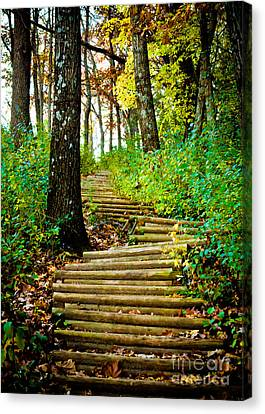 Canvas Print featuring the photograph Garvin Heights Stairway by Kari Yearous