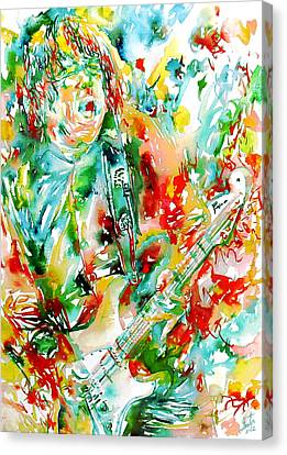 Gary Moore Playing The Guitar Watercolor Portrait Canvas Print by Fabrizio Cassetta