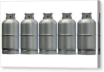 Gas Cylinder Row Canvas Print by Allan Swart